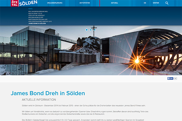 Soelden Drehort James Bond 2014